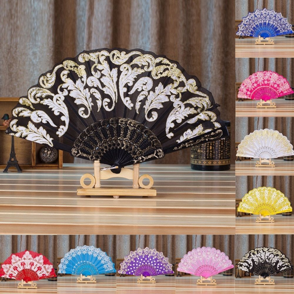 Colorful Silk Hand Fan Lace Silk Gold Wedding Flowers Wedding Fans