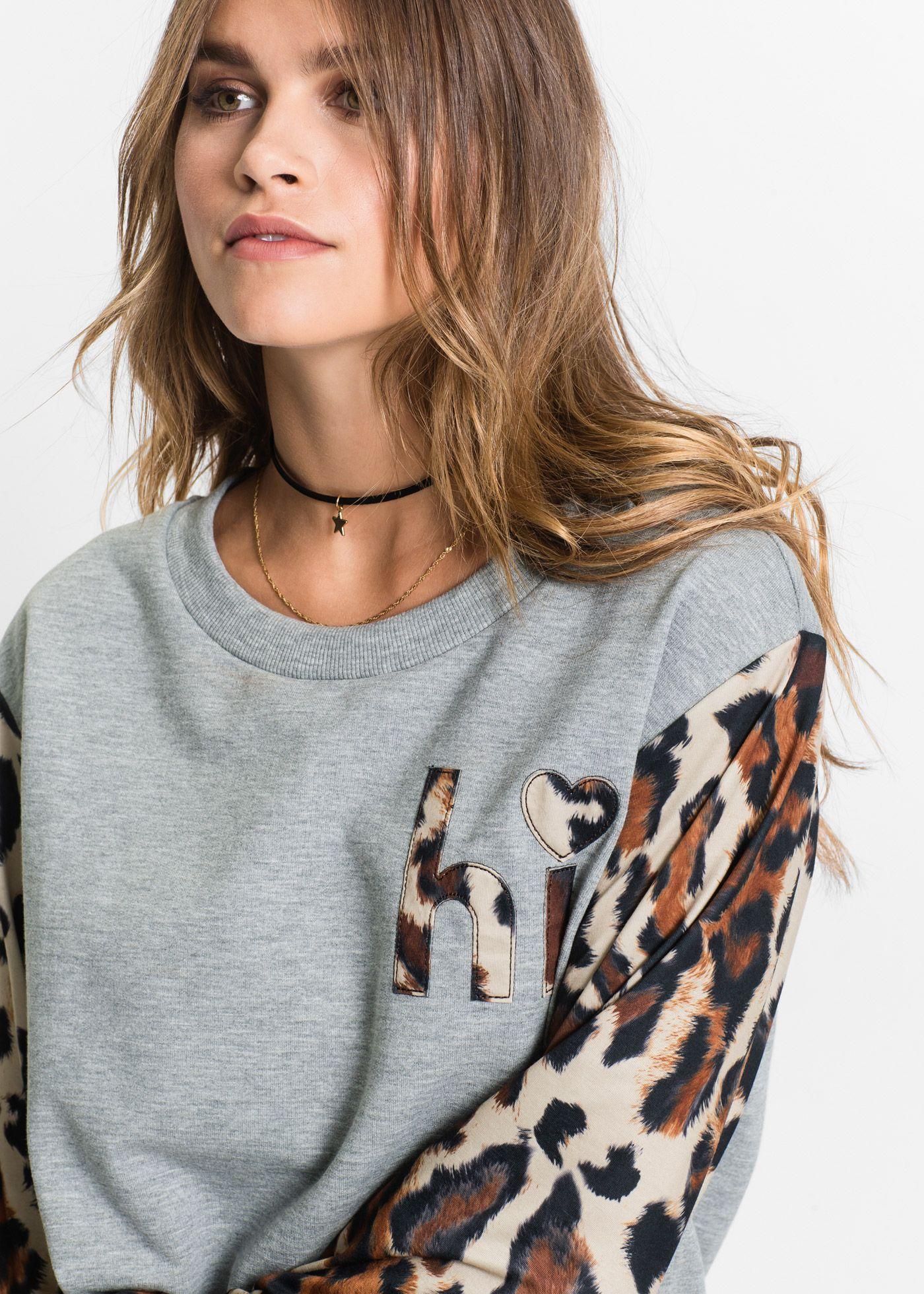 Sweatshirt mit Applikation   Mode, Tuch, Bekleidung