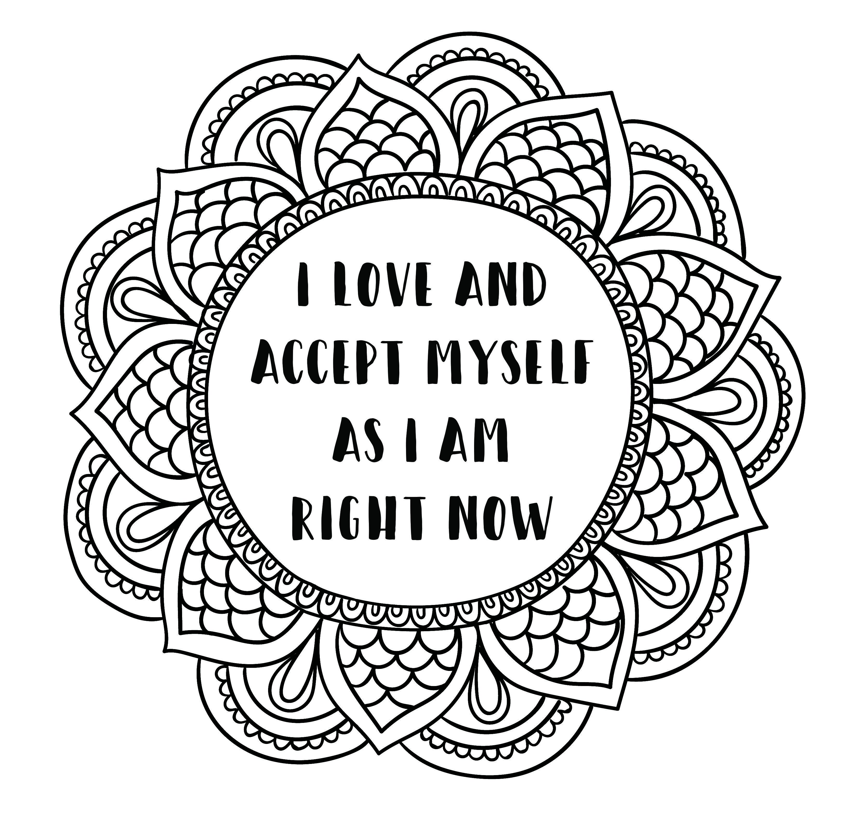 Mandala Style Coloring Page Printable Self Love Affirmation