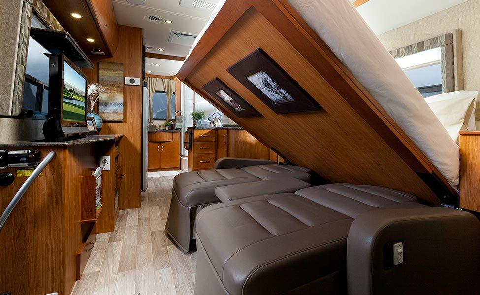 Queen size Murphy bed coming down in a Class A RV