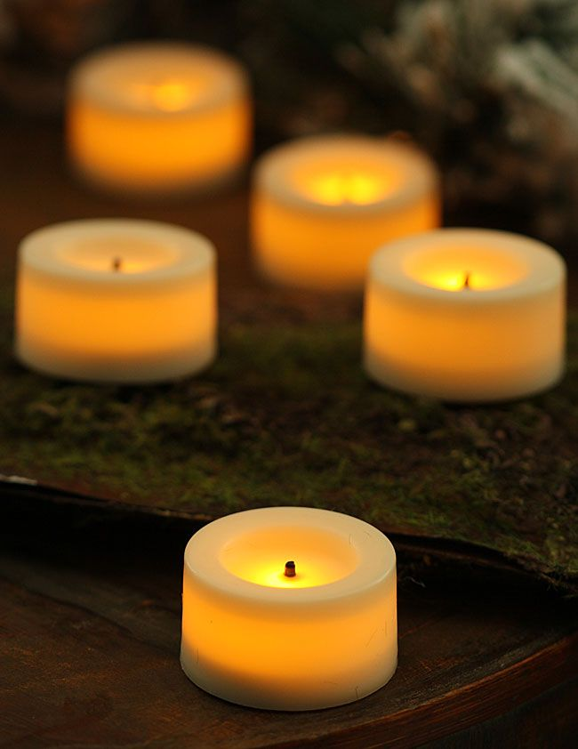 9 Pack 75 Inch Round Cream Candle Impressions Flameless Tea Light