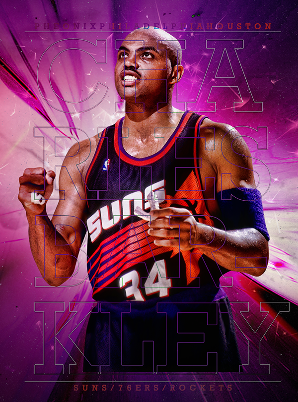 Charles Barkley Posterizes Legend Series On Behance Charles Barkley Basketball Players Nba Nba Legends