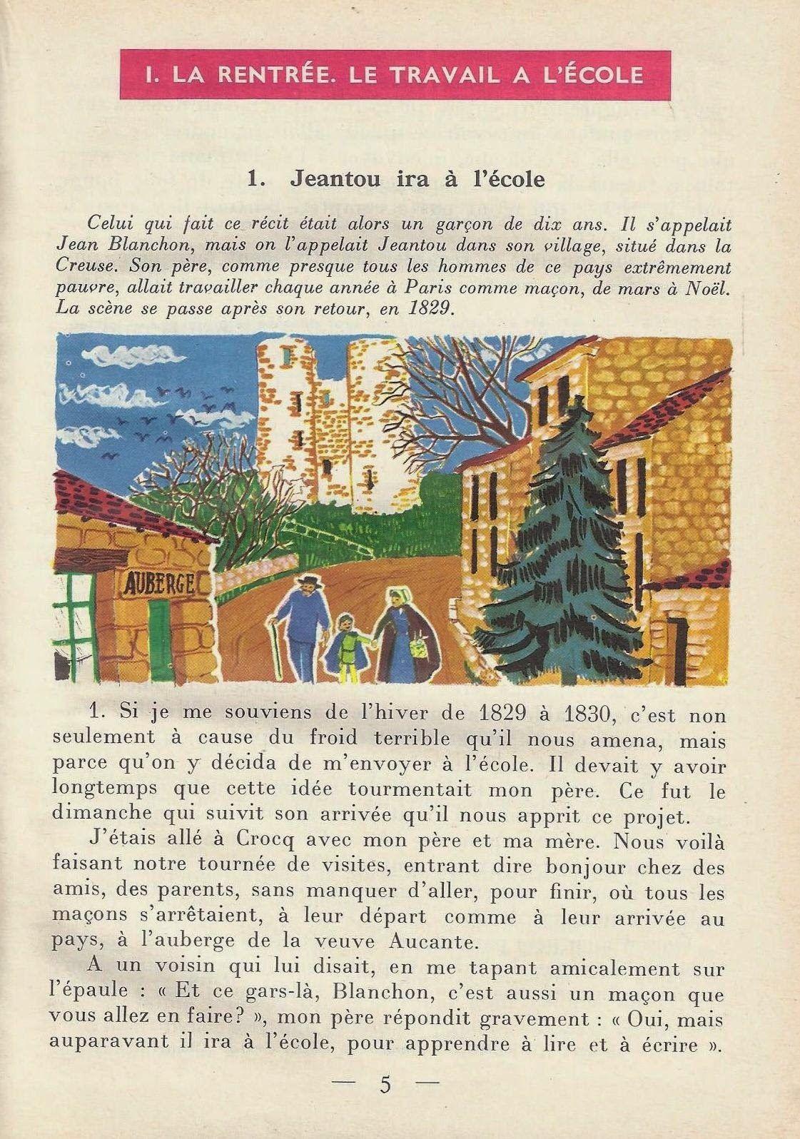 Juredieu, Lisons de beaux textes  Cours Moyen 2e année, classe de 7e (1967).  Illustrations de J. M. Desbeaux.   Plus grandes images ici .  ...