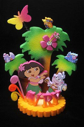 Dora Hawaiian Luau Cake Topper Centerpiece Luau Cakes Hawaiian - Dora birthday cake toppers