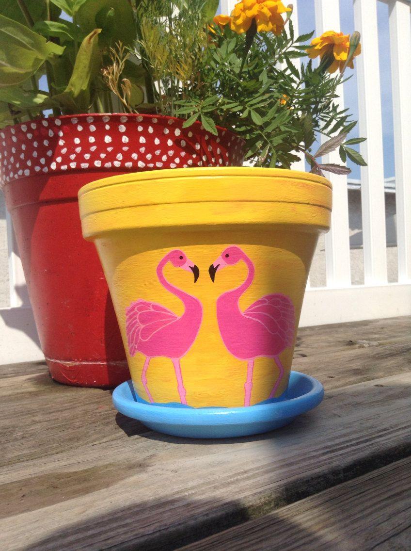 Pink Flamingo Flowerpot Flamingo Decor Acrylic Painting Painted Flower Pots Decorated Flower Pots Flower Pots