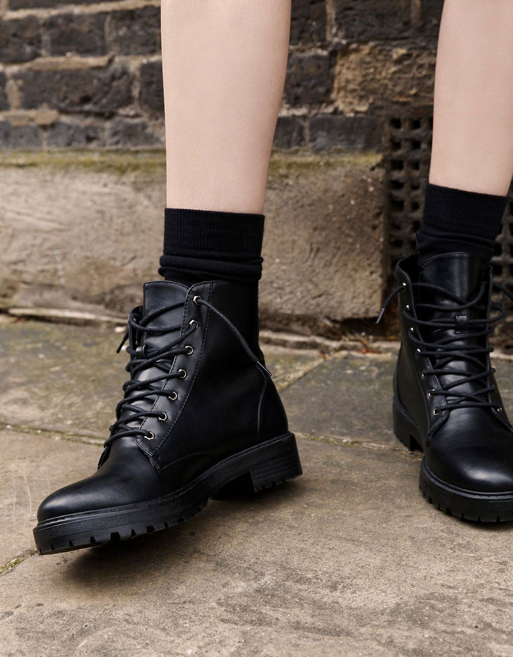 f1f93599118 Basic flat, lace-up ankle boots in 2019 | Shoes!! | Shoes, Shoe ...