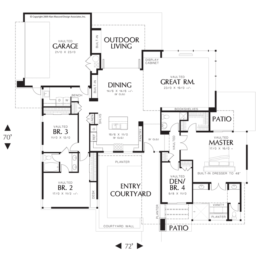 Mascord Floor Plans Part - 26: Main Floor Plan Of Mascord Plan 1243 - The Hamburg - Inviting Contemporary  With Walled Front Yard - Interesting Modern Home - Has Everything Though!