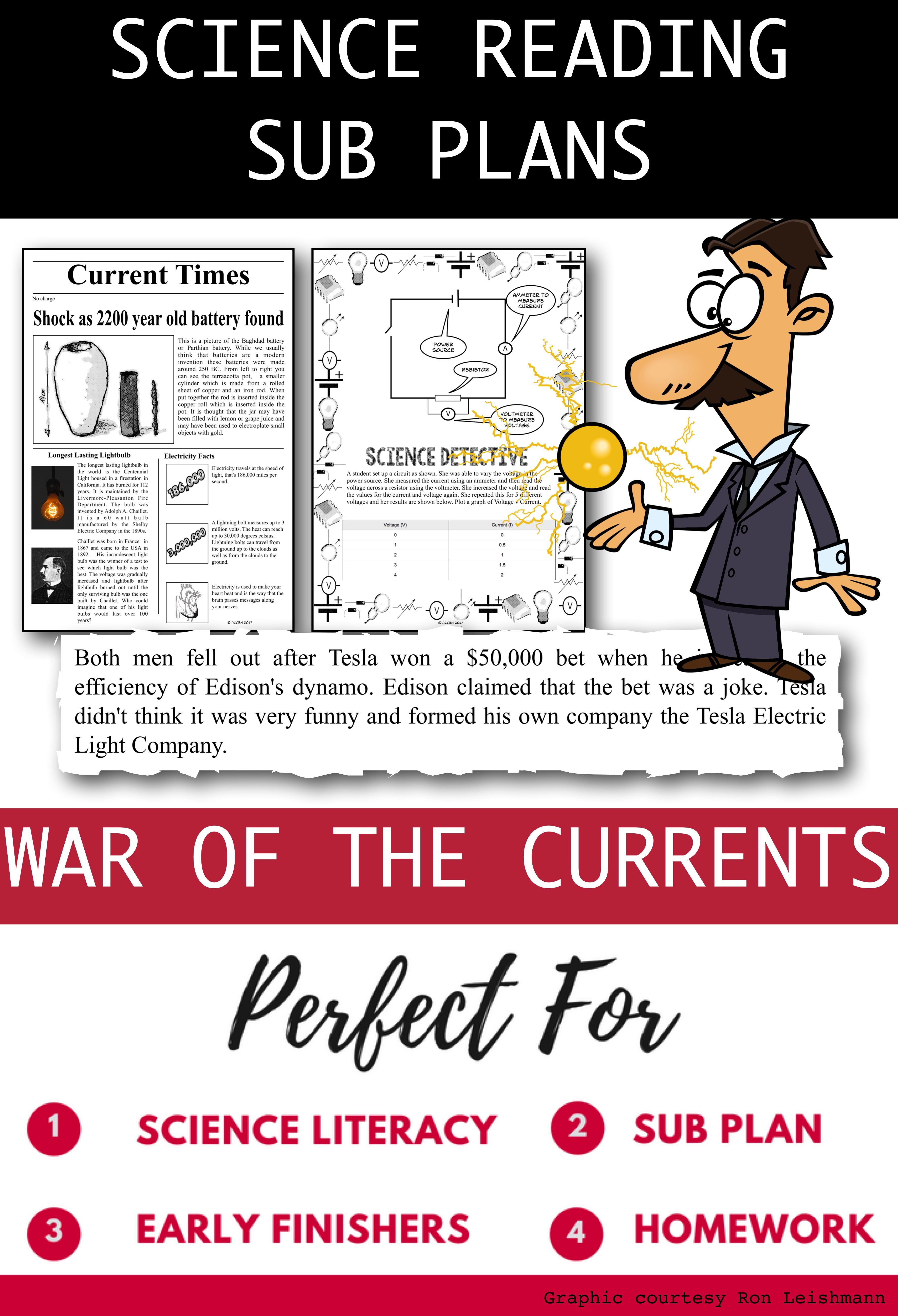 High Interest Reading On The Famous War Of The Currents Along With Exercises Physical Science Middle School Science Literacy Science Reading [ 5197 x 3544 Pixel ]