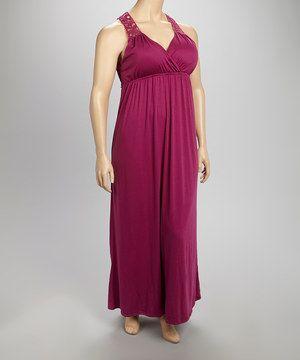Look at this #zulilyfind! Allison Brittney Boysenberry Crochet Back Maxi Dress - Plus by Allison Brittney #zulilyfinds