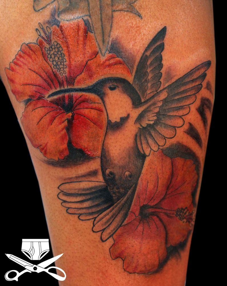 hummingbird and hibiscus tattoo designs This was created