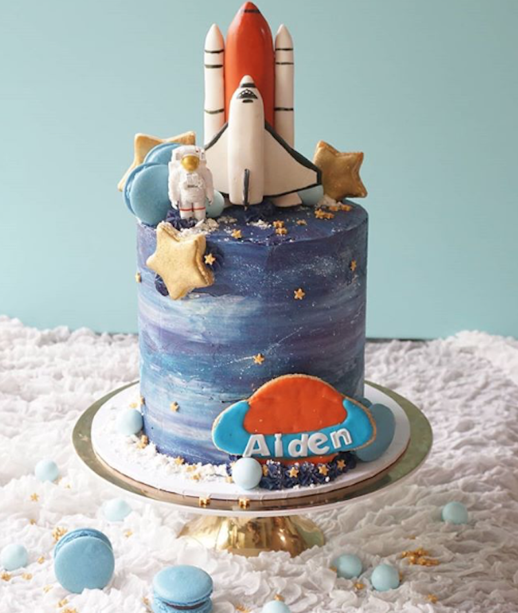 Super Outer Space Birthday Cake With Rocket Launcher Made With Satin Ice Funny Birthday Cards Online Inifofree Goldxyz