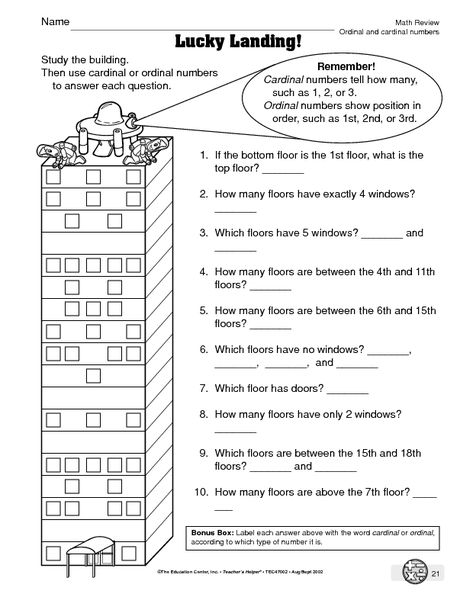 Math Worksheet: ordinal and cardinal numbers | Ordinal Numbers ...