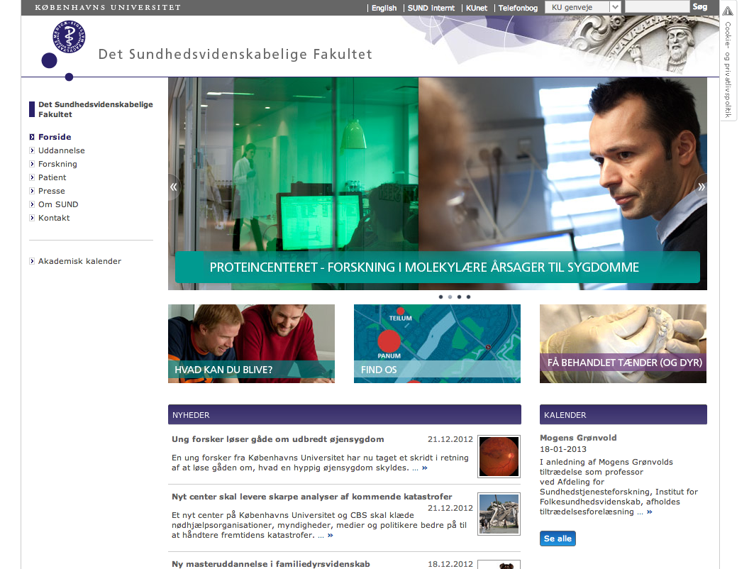 WEBSITES: Min seneste webprojekt: Total fornyelse af www.sund.ku.dk og www.healthsciences.ku.dk. Har ansvaret for strategien, IA, personas, Governancemodel,  Google analytics rapportering, grafisk profil og layout m.m.