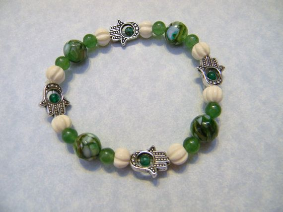 Hamsa Bead Frame and Green and White Gemstone and by EEEMAsBeads