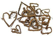 Bag of 48 Assorted Size Natural Grapevine Twig Hearts for Crafting and Decorating