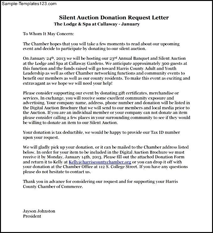 Letter Requesting Donations For Silent Auction Pdf Example Sample