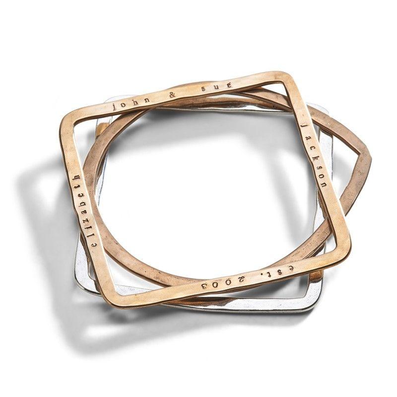 Geometric Bangle Bracelet Three sisters jewelry Sister jewelry