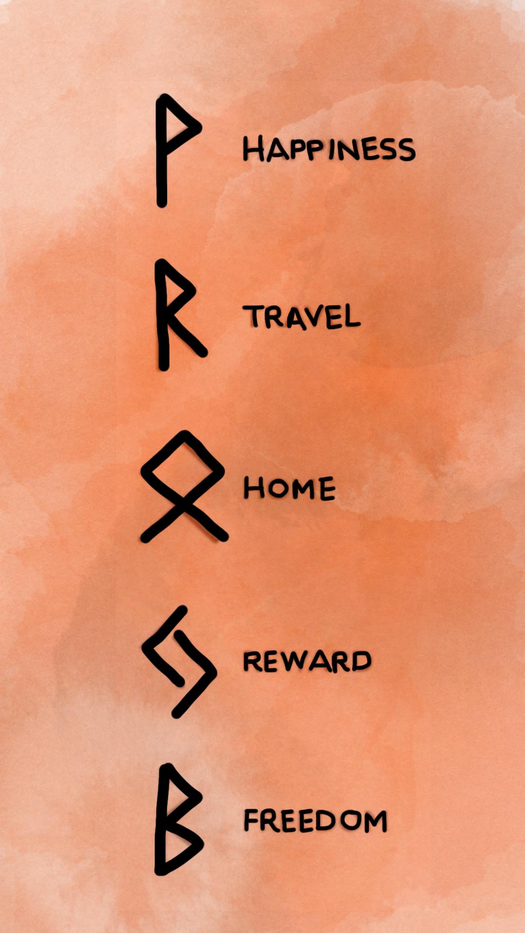 Bind Runes Happiness, Travel, Home, Reward, Freedom in