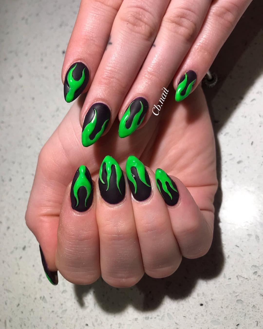 Dark Nails Purple Nails Green Nails Maleficent Nails Halloween Nails Nail Art Flame Nails Almond Purple Nails Dark Purple Nails Black And Purple Nails