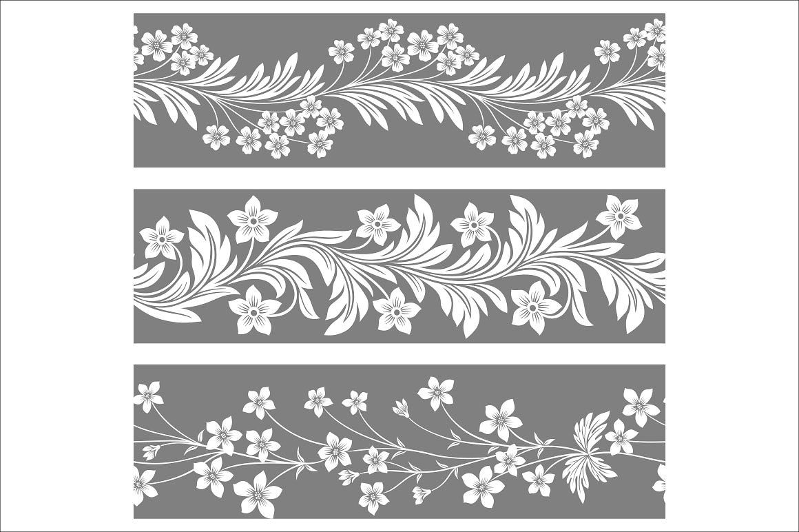 Seamless Floral Patterns Monochrome Pattern Floral Pattern Floral Border