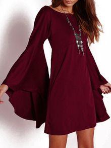 2aefa43845 Wine Red Bell Sleeve Shift Dress -SheIn(Sheinside) | Style | Bell ...