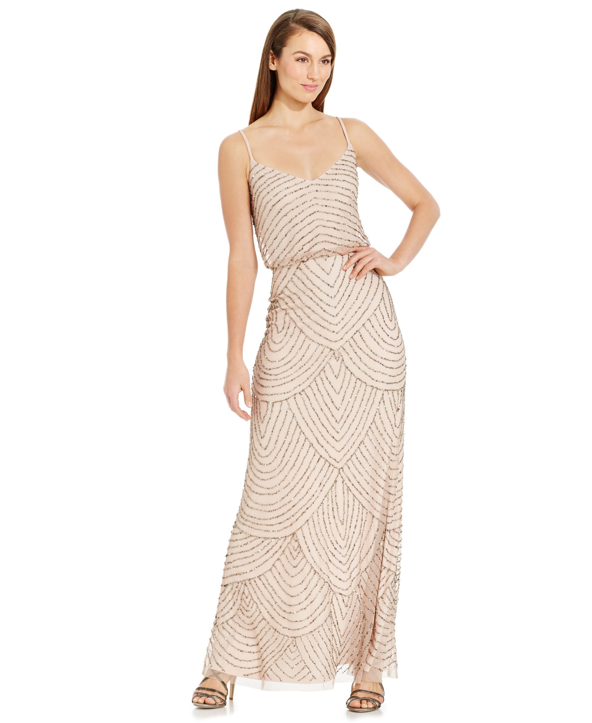 Adrianna Papell Dress Sleeveless Spaghetti Strap Beaded Blouson Evening Gown Womens Dresses Macy S Love Th Gowns Formal Dresses For Women Bridemaid Dress [ 2378 x 1947 Pixel ]