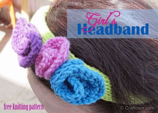 Free Knitting Pattern Girls Spring Headband Knit A Pretty Flower