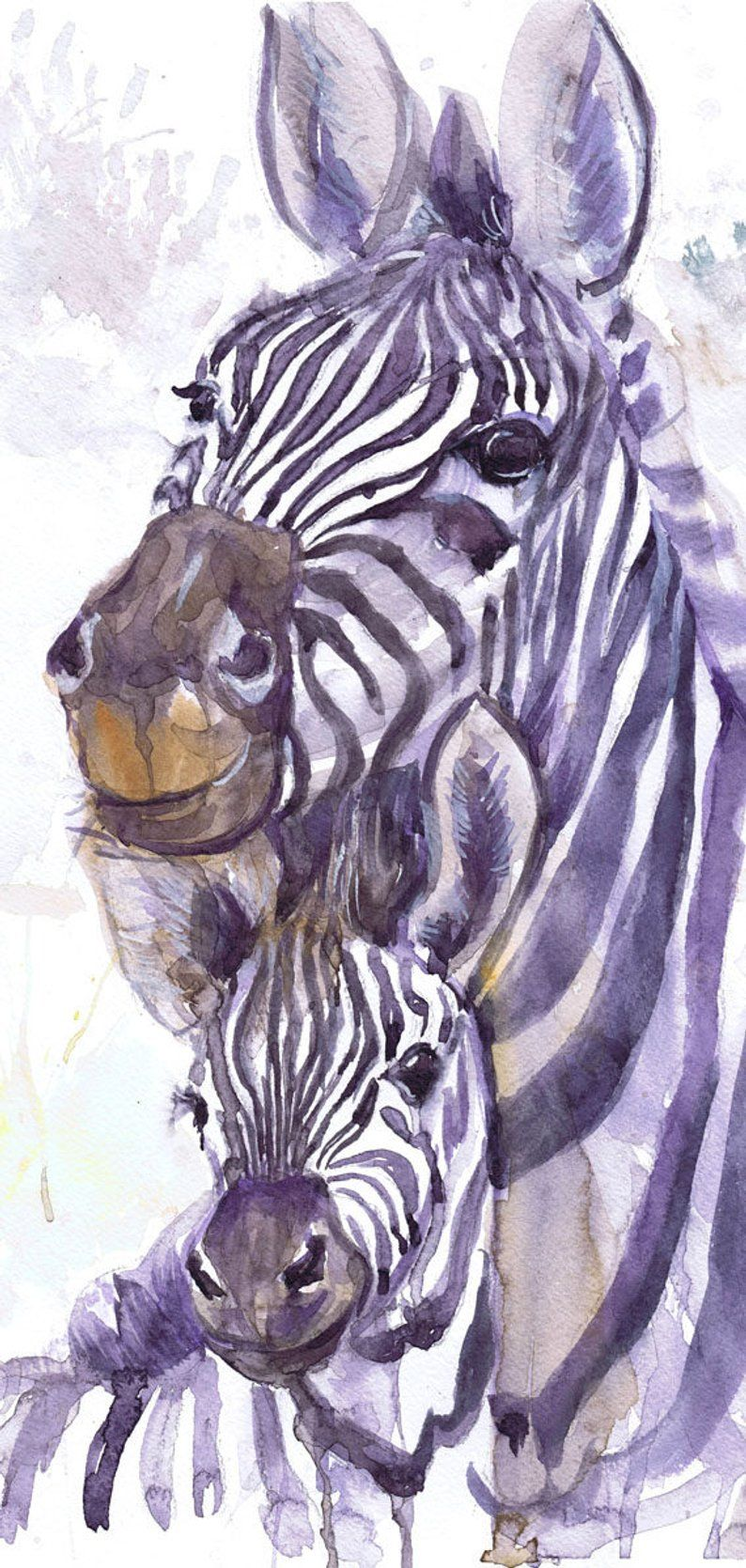 Zebra Painting Watercolor Animals Safari Art Mother And Baby
