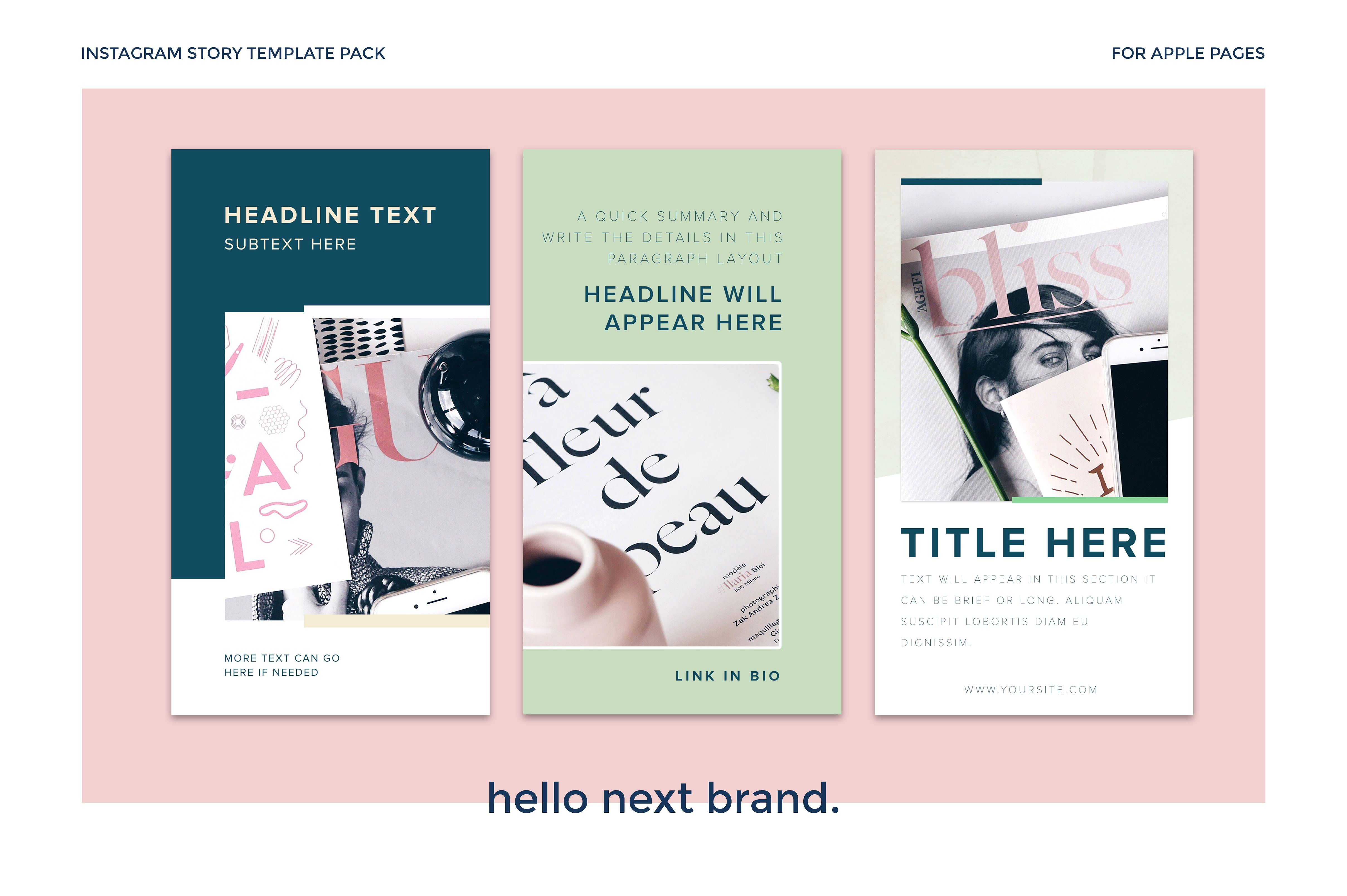 Insta Stories Pack For Apple Pages Pinterest Template - Instagram ad template