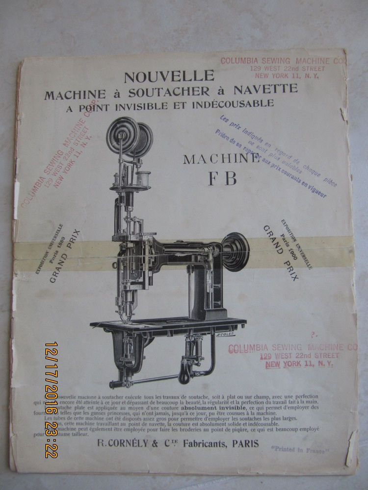 1 Cornely Embroidery Fb Machine Parts Book 1900 Edition 9 Pages