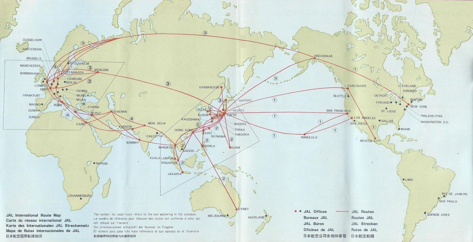 JAL Japan Air Lines route system map 1973 | Luftfahrt ... on united airlines route map, hawaiian airlines route map, israel airlines route map, american airlines route map, singapore airlines route map, canadian airlines route map, mokulele airlines route map, shanghai airlines route map, korean air route map, aeroflot airline route map, northwest airlines route map, lufthansa route map, garuda route map, lan airlines route map, seaport airlines route map, malaysia airlines route map, atlantic coast airlines route map, syrian airlines route map, pakistan airlines route map, hawaiian airlines hubs map,
