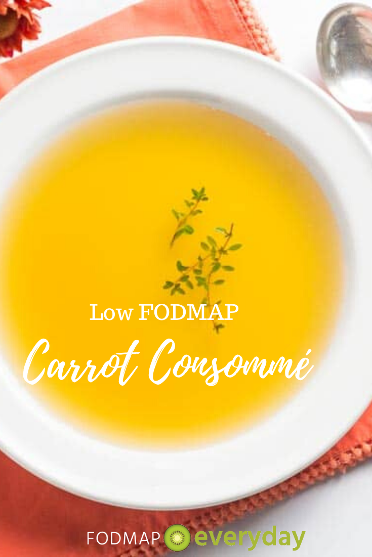 Low FODMAP Carrot Consommé  FODMAP Everyday This recipe for low FODMAP Carrot Consommé is very light and simple All the ingredients are combined at once sim...