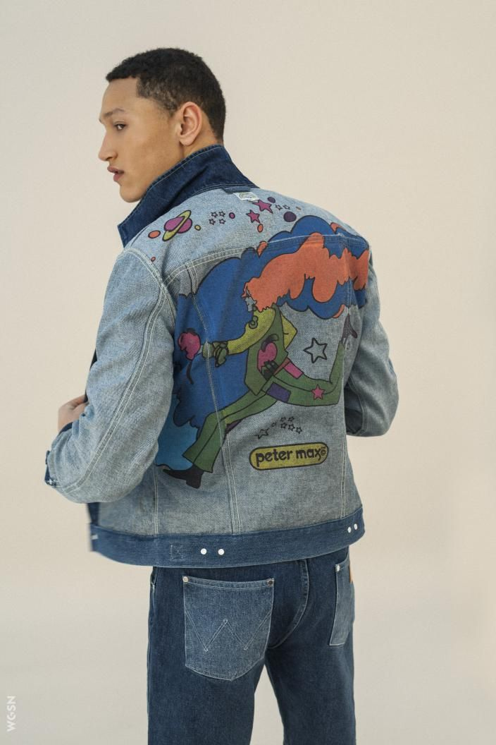 ce0ecb9a Peter Max teams up with Wrangler. Max, known for his dazzling variety of  brightly coloured drawings, paintings and kaleidoscopic colour-combinations.