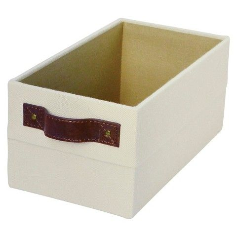 CD/Dvd Storage Box With Handle   Threshold, Beige