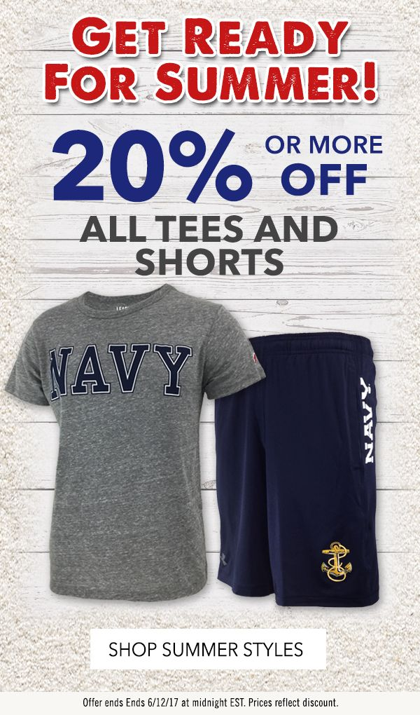 It's back!  Annual Summer Tee & Short Sale. 20% off ends Monday, 6/12/17.