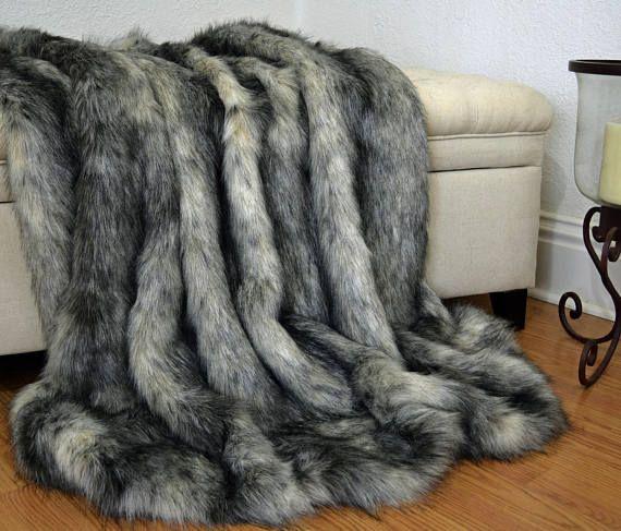 Grey Wolf Faux Fur Blanket Throw Faux Fur Blanket Faux Fox