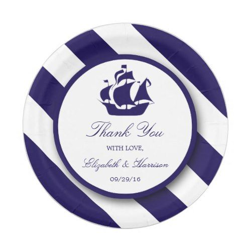 Nautical Stripes u0026 Navy Blue Ship Wedding Paper Plate | Nautical Wedding Ideas | Pinterest | Nautical stripes Wedding paper and Nautical wedding  sc 1 st  Pinterest & Nautical Stripes u0026 Navy Blue Ship Wedding Paper Plate | Nautical ...