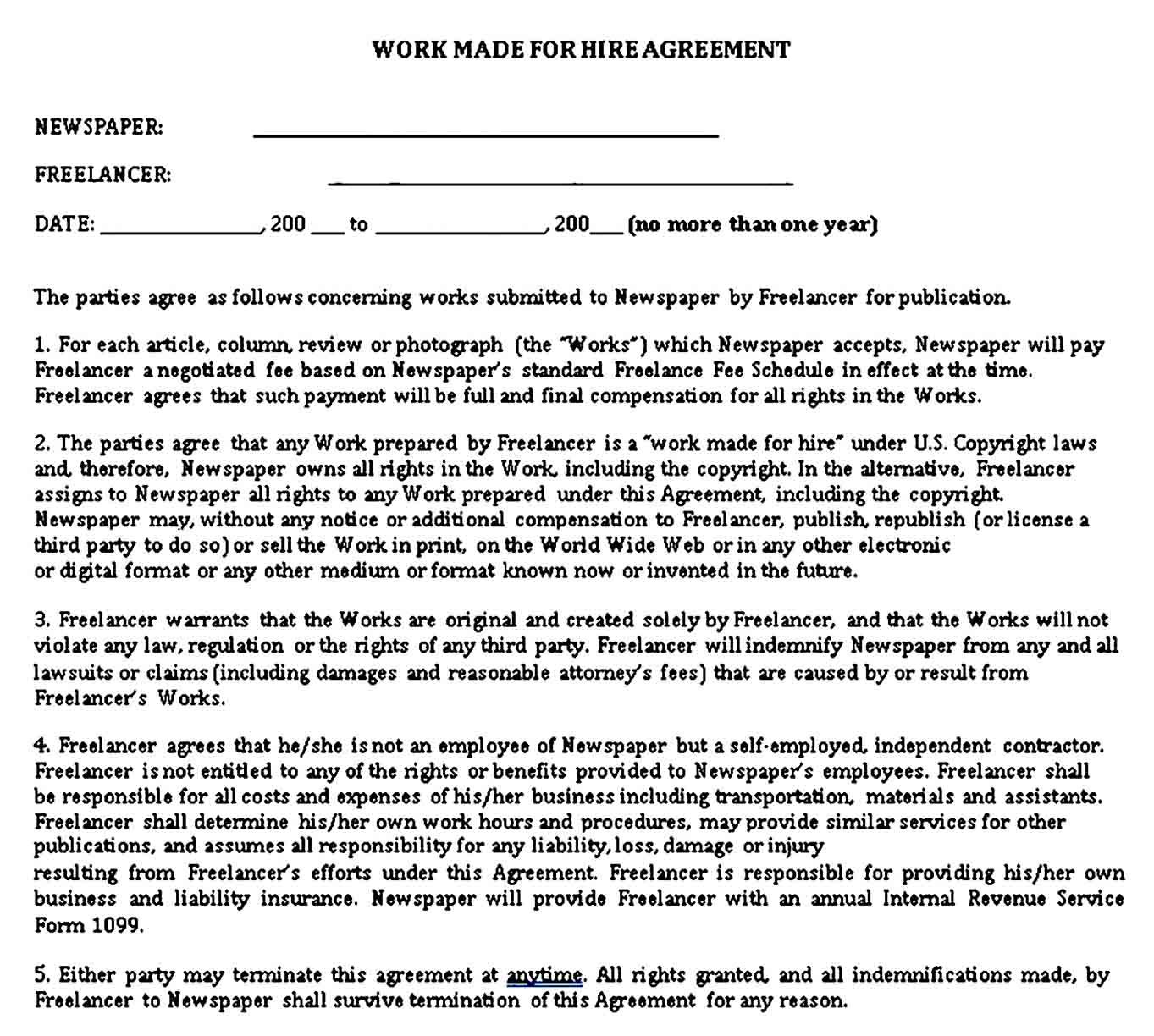 Work For Hire Agreement Template Sample Work For Hire Business Template Templates