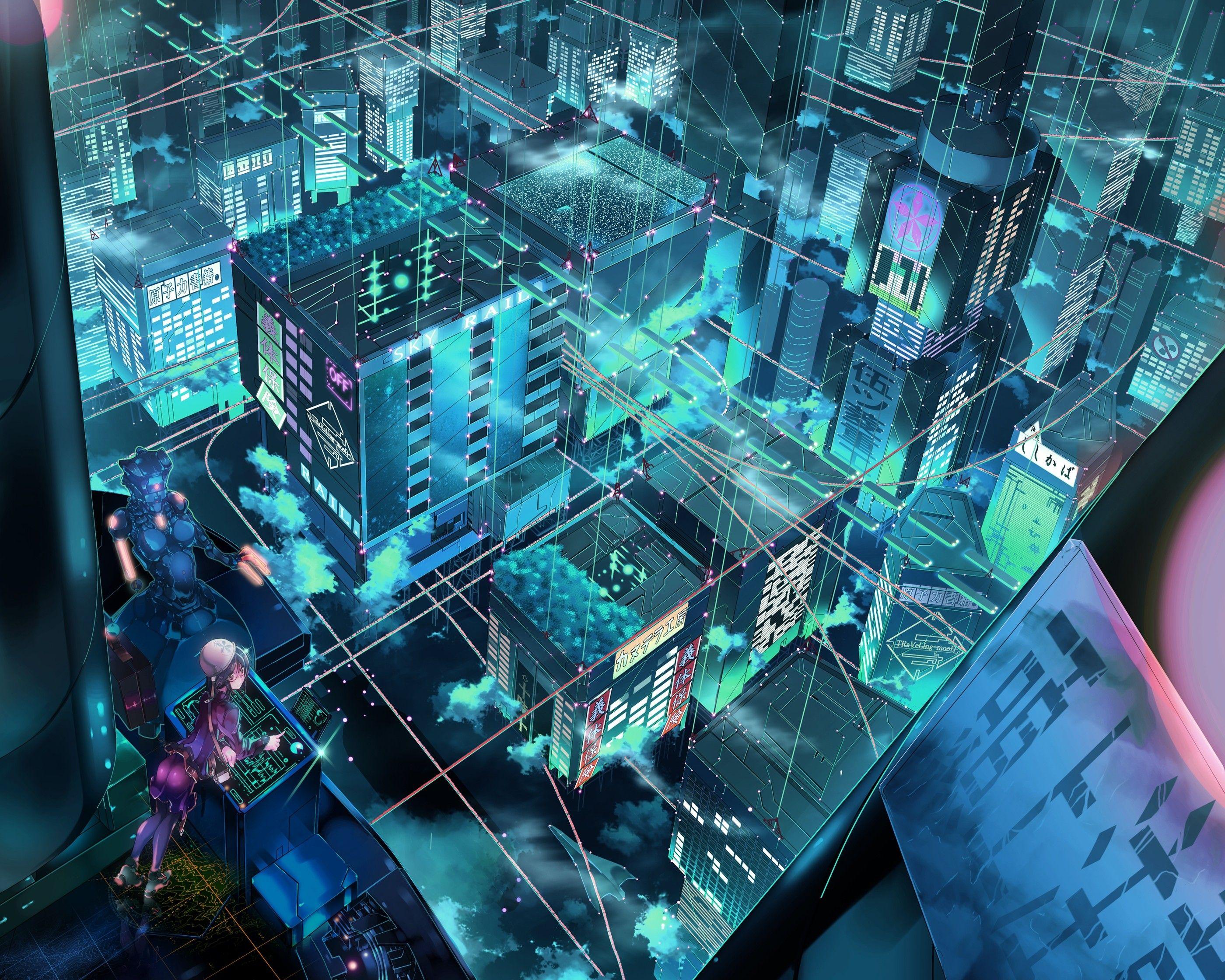 Landscapes Cityscapes Robots Fantasy Art Science Fiction Wallpaper 1076118 Wallbase Cc Anime Scenery Anime Scenery Wallpaper Anime City Futuristic anime wallpaper 1920x1080