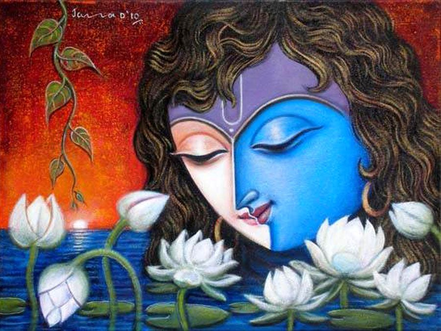 50 most beautiful indian paintings from top artists for for Mural radha krishna