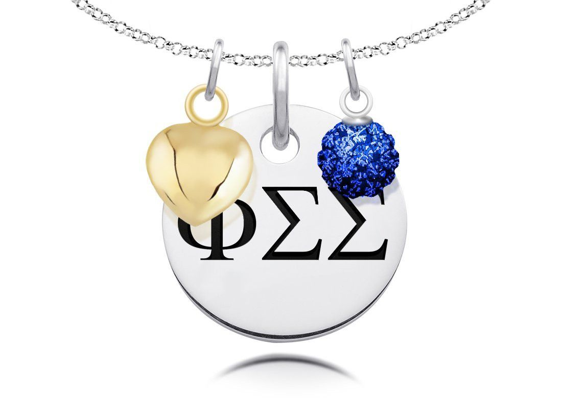Phi Sigma Sigma Greek Letters Necklace with Heart and Crystal Ball Charms