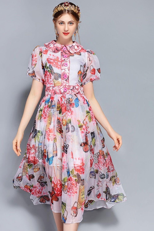144179629 Vestido Feminino Floral Print Vestido Midi com Manga e Gola Cintura Marcada  e Saia Evase - Verão 2018 Price  103.68   FREE Shipping  love  nails  hair  ...