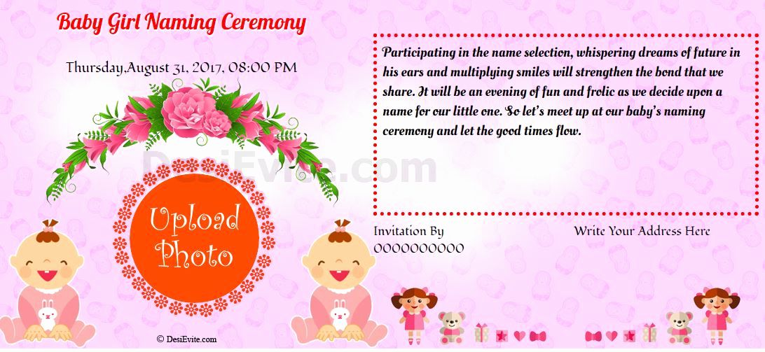 Baby Naming Ceremony Invitation Awesome Free Baby Girl Namkaran Invitation Card Line Invitation Card Format Naming Ceremony Invitation Invitation Card Sample