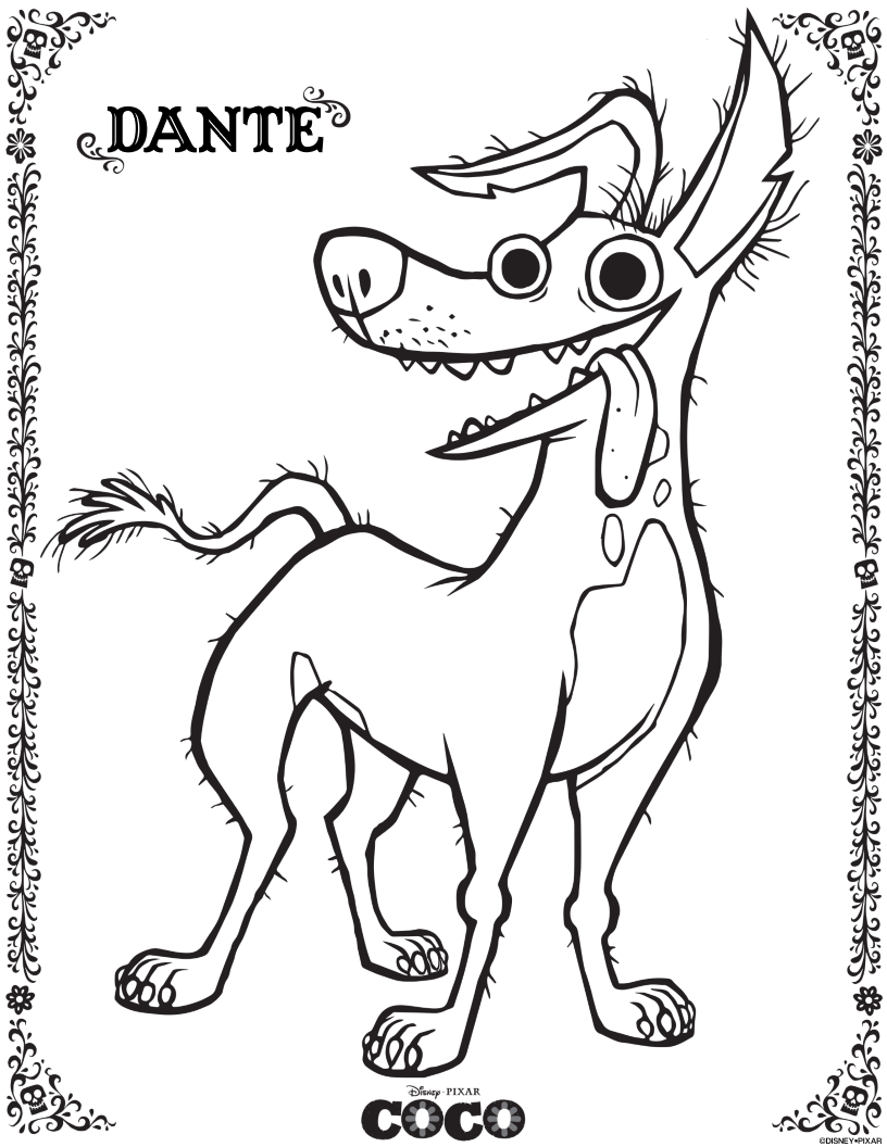 Free Disney Pixar Coco Dante Coloring Page | disney crafts | Pinterest