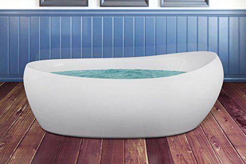 "AKDY 68"" Luxury White Acrylic Fiberglass Soaking Bathroom ..."