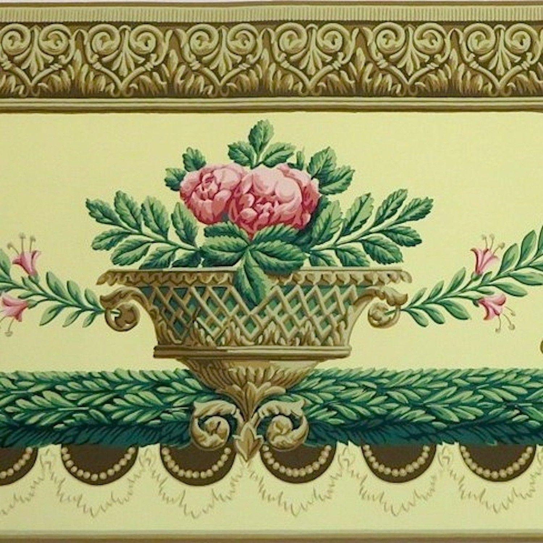 26yd That S 78 Ft Bolts New Vintage Schumacher Floral Basket Wallpaper Border Digital Borders Design Victorian Wallpaper Block Print Wallpaper