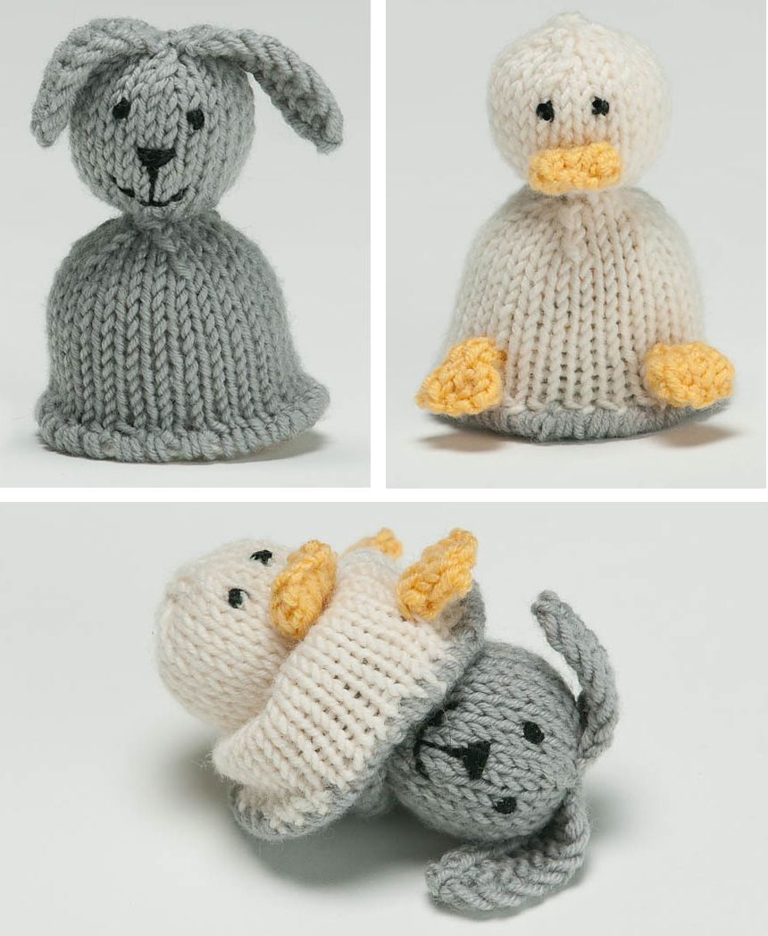 Free Knitting Pattern For Bunny And Duck Flip Toy This Mini