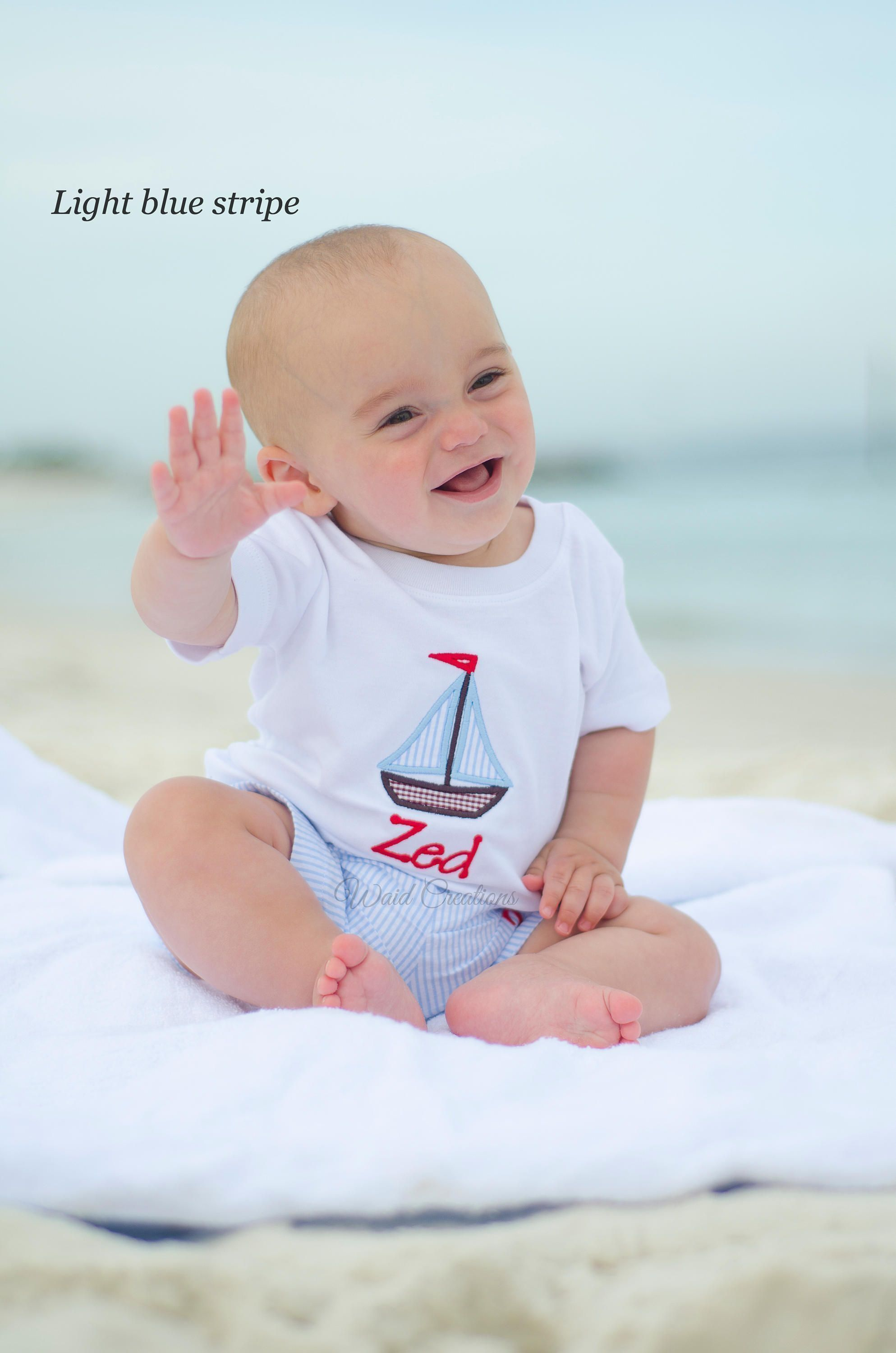 Baby boy bathing suit with applique shirt, sailboat shirt, anchor ...