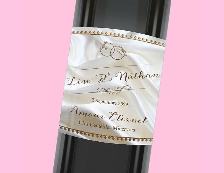 Etiquette de bouteille mariage pour une touche de douceur lors de votre repas de noces, réf.N300964