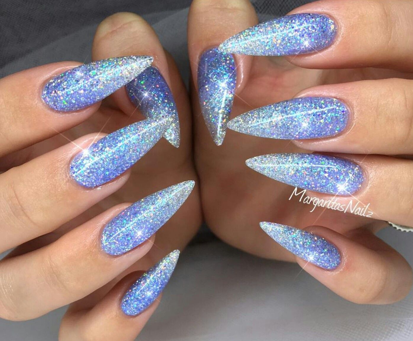 The Color Periwinkle Blue Nails Stiletto Nails Stiletto Nails Designs